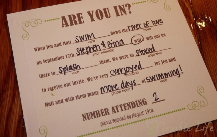 DIY Mad Libs Style Wedding RSVP Card . Such a good idea because I'm an English freak =]