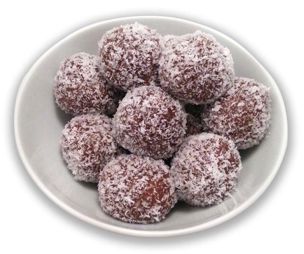 Σοκολατένια τρουφάκια με ζαχαρούχο, κεράσια μαρασκίνο και ινδοκάρυδο