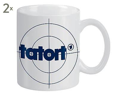 Tassen Tatort, 2 Stück, H 9 cm