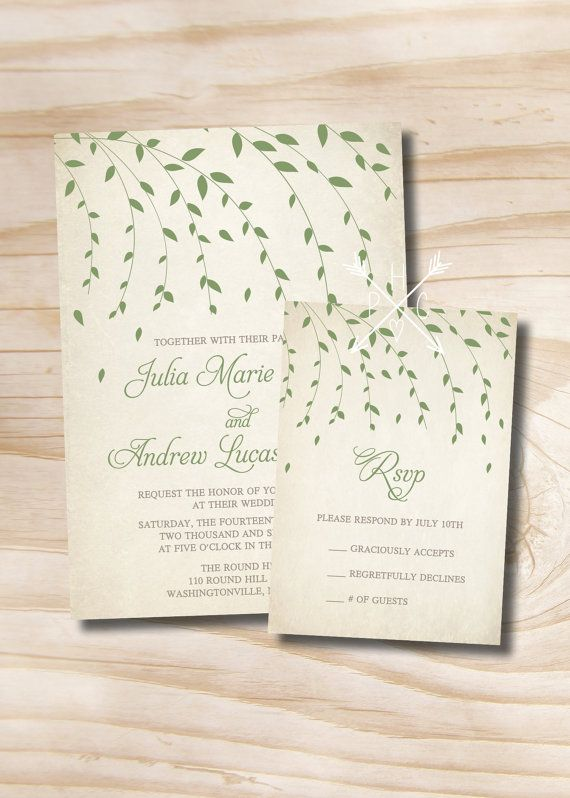 VINTAGE IVY LEAVES Willow Tree Wedding Invitation/Response Card   100  Professionally Printed Invitations U0026