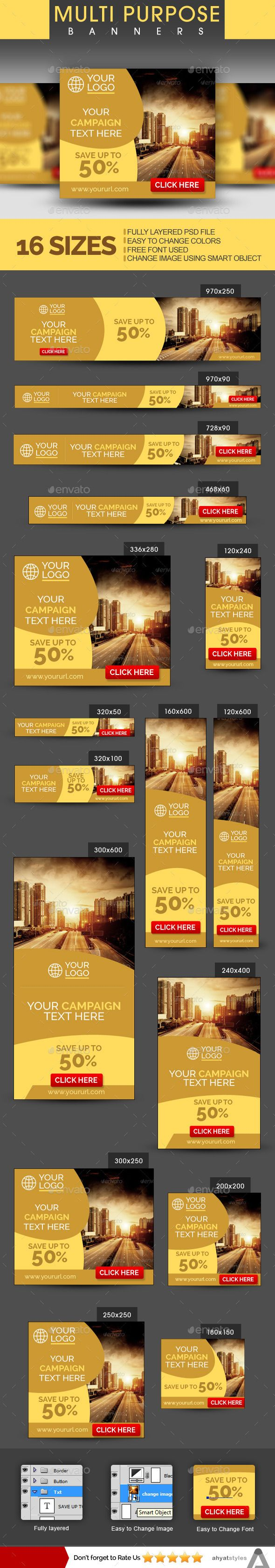 Multipurpose Web Banners - Banners & Ads Web Elements