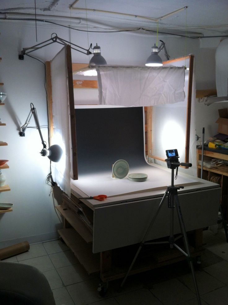 How to make your own photo booth for photographing pottery. It folds up flat against the wall when not in use. Plus lots of links to other articles/ blog posts about photographing pottery. from potteryblog.com