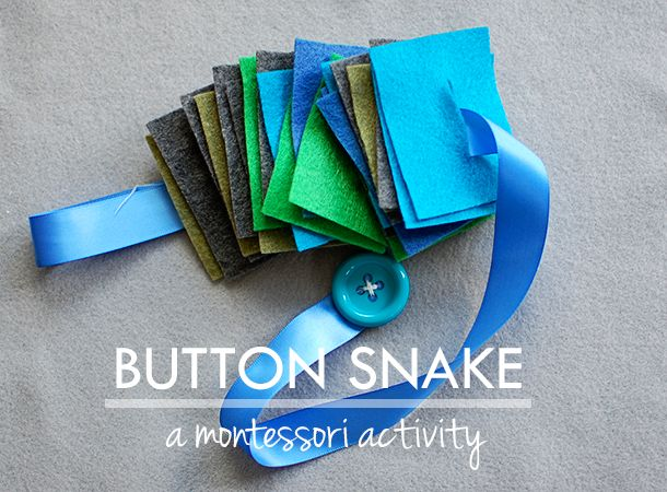 Harvesting Kale: a montessori activity: button snake. Add a loop to the end to make it easier to hold!
