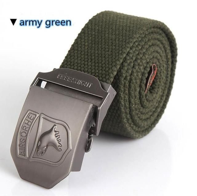 TACVASEN Army Tactical Men's Canvas Belts Men Fashion Casual Belt With Big five-star Canvas Belt Thickening Military Waist Belts
