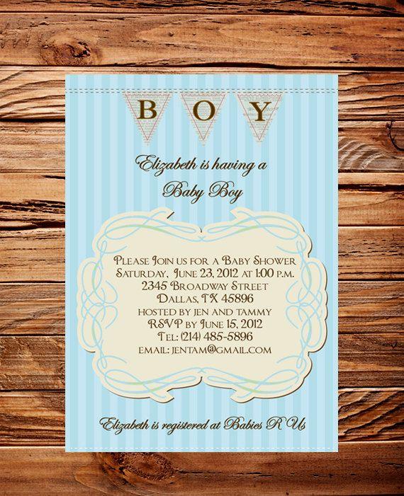 VIntage Baby Boy Shower Invitation Digital, Digital Baby Boy Shower Invite,  Printable, DIY