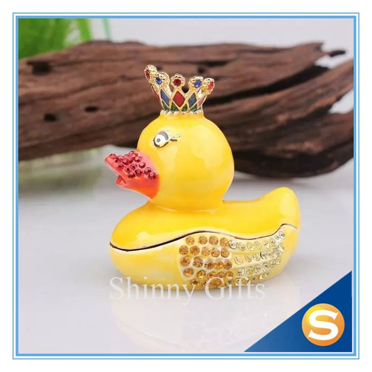 Baby Toys Duck with Crown Jewelry Box with Artificial Crystal Diamond Duck Shaped Metal Trinket Box