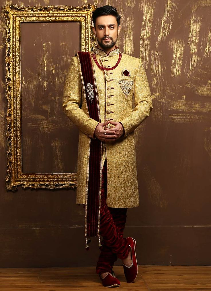 Buy Golden N Maroon Breeches Style Achkan Sherwani online from the wide collection of achkan-sherwani. This Maroon | Gold colored achkan-sherwani in Art Silk fabric goes well with any occasion. Shop online Designer achkan-sherwani from cbazaar at the lowest price.