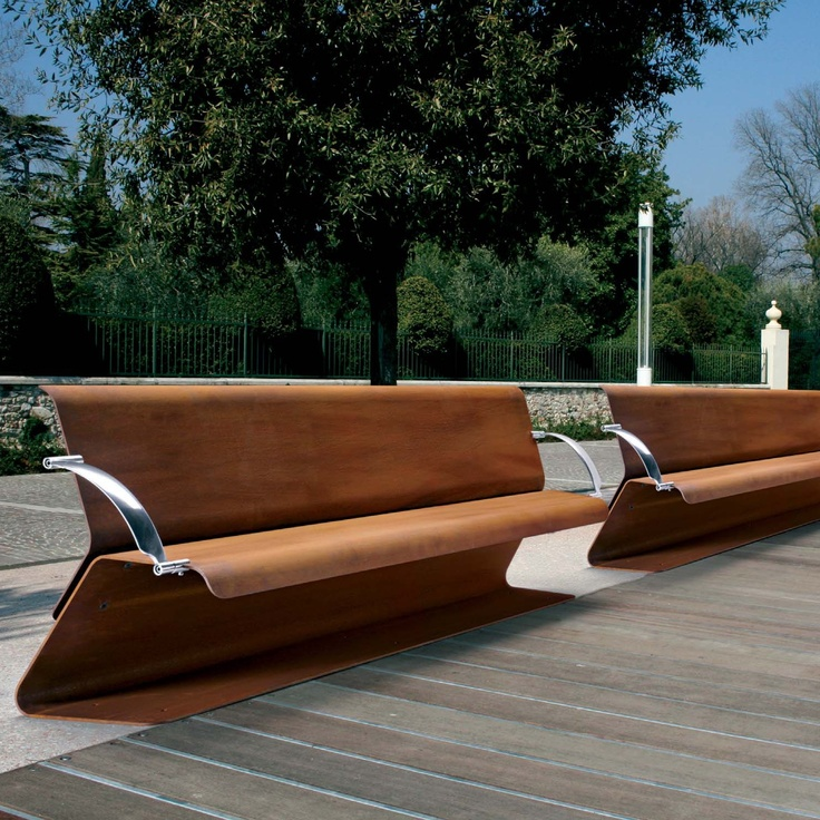 136 best images about corten steel landscaping on pinterest fire pits raised beds and terrace - Afgeronde bank ...