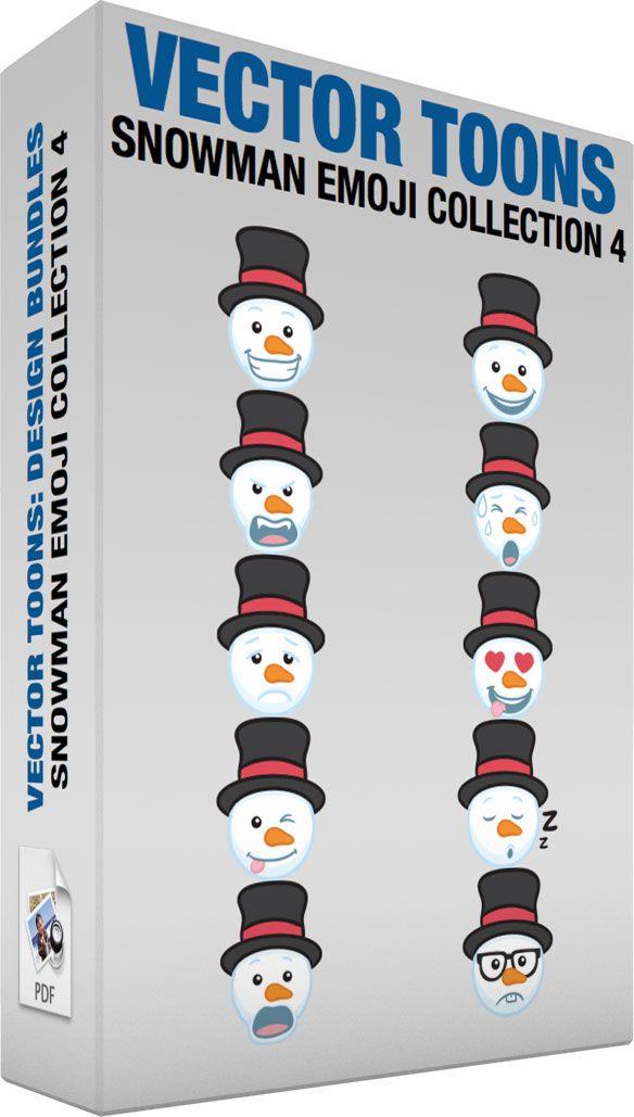 Snowman Emoji Collection 4 #cartoon #clipart #vector #vectortoons #stockimage #stockart #art