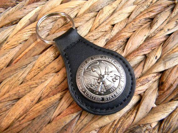 Army Concho Keychain Black Leather Army Key Fob by StepOriginals