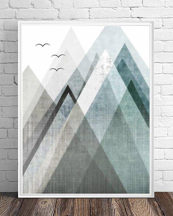 Mountains Print Abstract Print Geometric Wall Art Abstract Etsy Abstract Red Abstract Art Modern Art Abstract