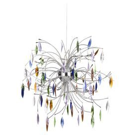 Add a splash of colour to your living room or bedroom with this eye-catching ten light pendant. Featuring vibrant glass droplet detailing and a chrome finish, it complements the carved woods and mixed motifs of your eclectic scheme.  Product: Pendant lightConstruction Material: Metal and glassColour: Chrome and multiFeatures: Droplet accentsAccommodates: (10) 10 Watt G4 Halogen bulbs - not includedDimensions: 57 cm H x 56 cm Diameter