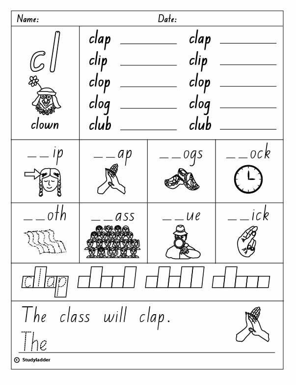 Grade 1 Phonics Worksheet Cl Words In 2020 Blends Worksheets Consonant Blends Worksheets Kindergarten Worksheets