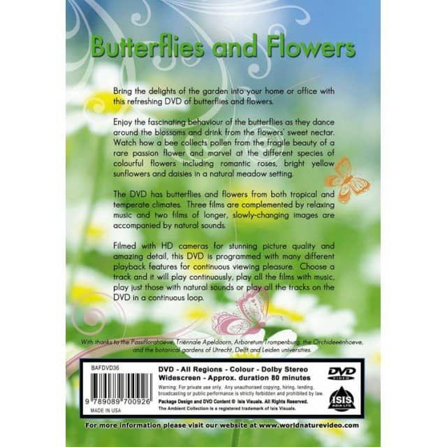 Bring the delights of the garden into your home or office with this refreshing DVD of butterflies and flowers.Enjoy both tropical and temperate butterflies and flowers on 5 great tracks. Films are complemented by relaxing music and two tracks of longer, slowly-changing images are accompanied by natural sounds.The DVD is programmed with many different playback features, so you can play one track continuously, play all the films with music, play just those with natural sounds or play…