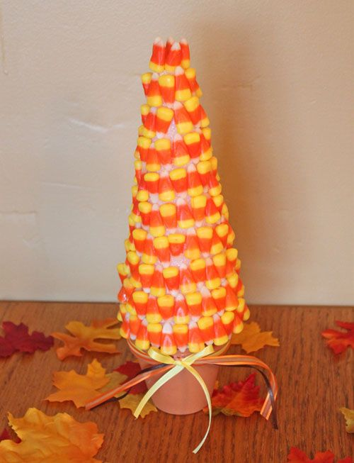 15 Clever Candy Corn Halloween Recipes and Crafts: Candy Corn Tree