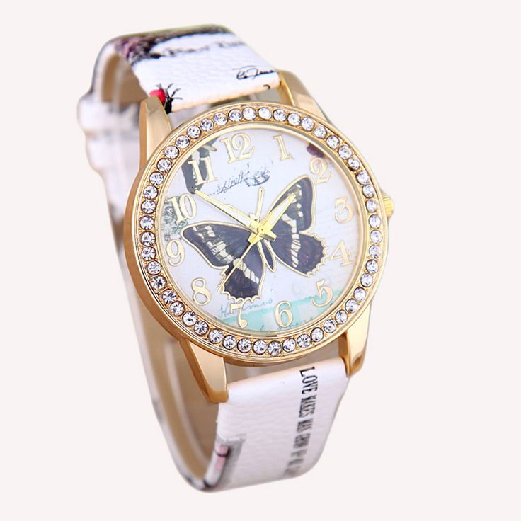 Rhinestone Butterfly Waterproof Wristwatch // Price: $10.95 & FREE Shipping Worldwide //  We accept PayPal and Credit Cards.    #girls