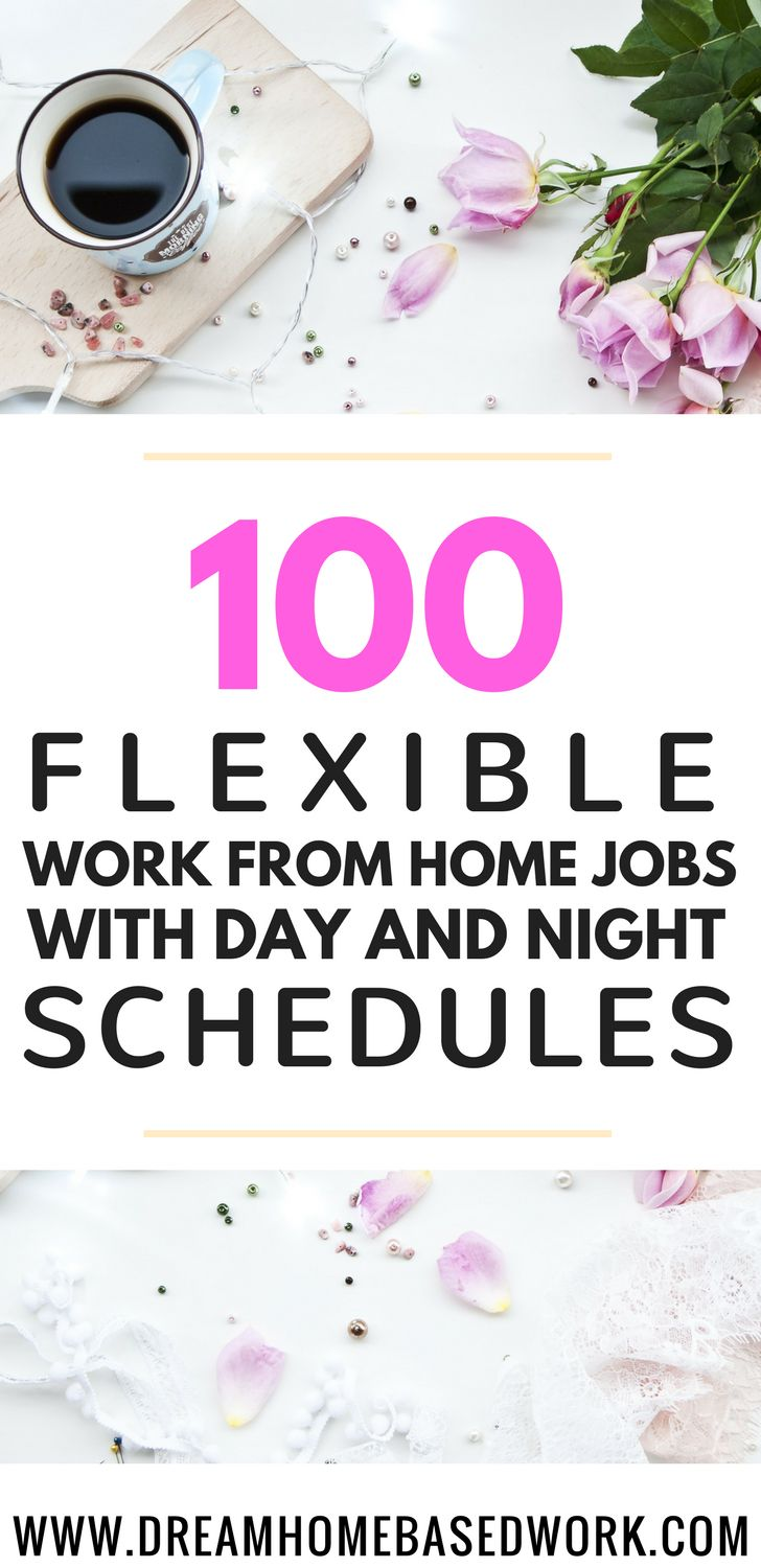 The HUMUNGOUS list of flexible work from home jobs with day and night shifts. #remote #telecommute #homebased #jobs