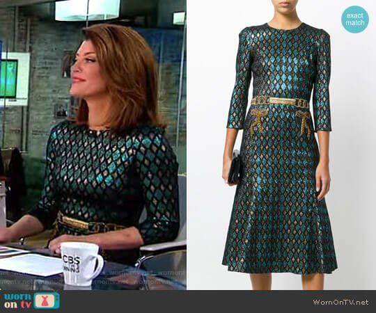 Norah's green and gold metallic dress with belt on CBS This Morning.  Outfit Details: https://wornontv.net/87418/ #CBSThisMorning