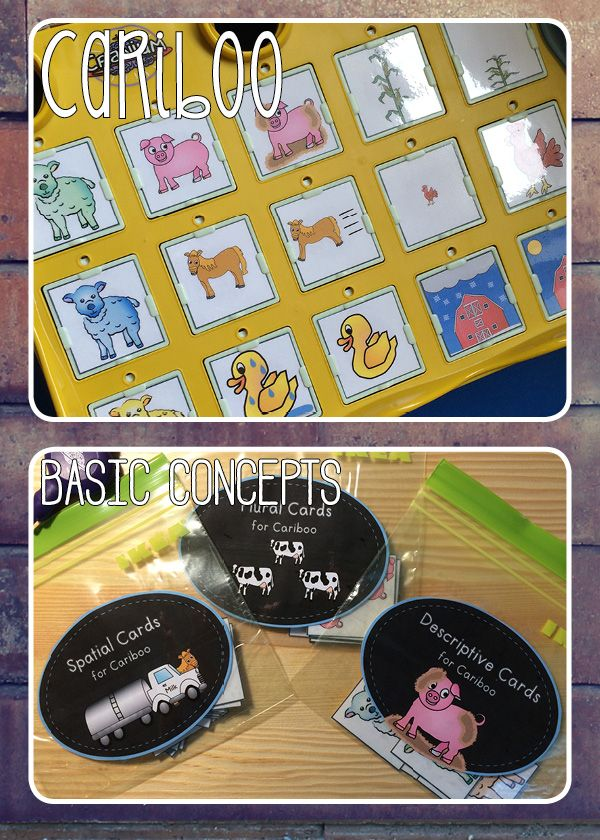 Basic concepts cards for Cariboo (descriptive, spatial, plurals) for speech therapy