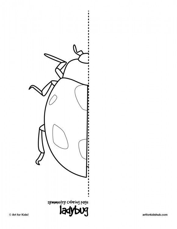 coloring page ladybug 10 free symmetry art activities for kids to do if they finish their work early, finish other half then color
