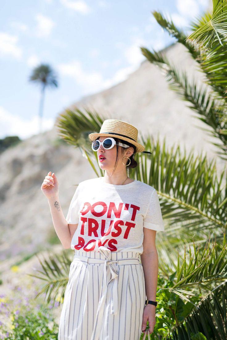 Tee-shirt Claudie Pierlot Chapeau de paille pantalon jupe culotte en toile L'atelier d'al blog mode lifestyle Fashion