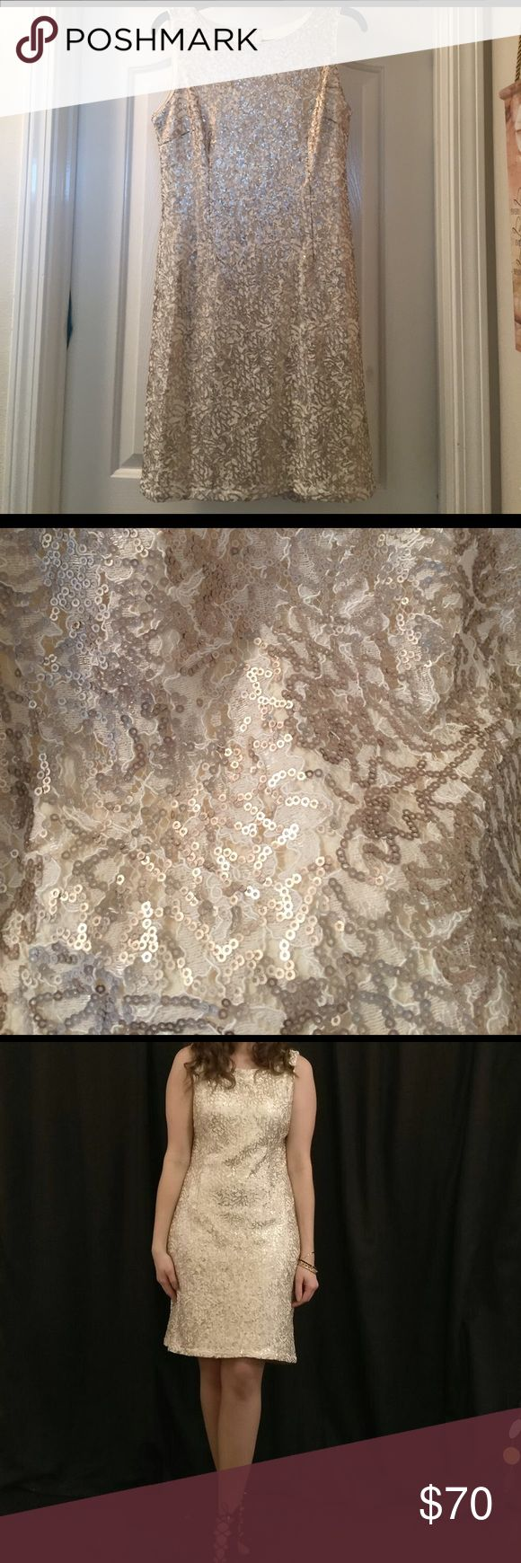 Gold sequin dress Gold/beige sequin dress. Only worn once! Leslie Fay Dresses