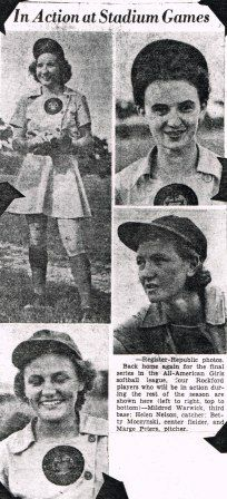 AAGPBL, Rockford Peaches players, 1943, Mildred Warwick, Helen Nelson, Betty Moczynski and Marge Peters.