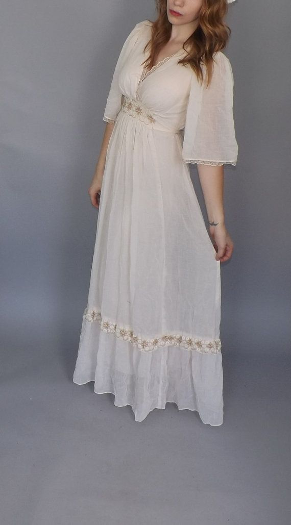 Vintage 1970s Gauzy Cotton Gown White Lace Maxi by alicksandraflin, $75.00