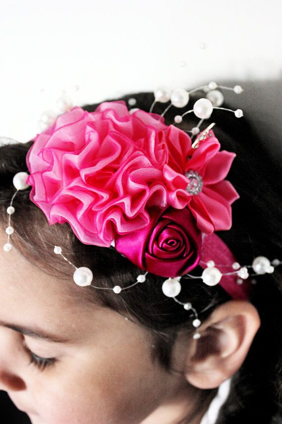 5T to Teen Pink flower headband with a dark raspberry rosette and strings of pearls. Handmade with love by Babamoon :)   #handmade #babyheadband #baby #headband #pearls #roses #rosette #flowers #flower #pink #babies #style #stylishkids #babyheadwrap #fascinator #wedding #weddingflowers #weddinghair #flowergirl #christening #birthday #babyshower #boutique #babyshowergift #chic #etsy #babyfashion #childrensfashion #kidsfashion #babygifts #gifts #etsygifts #photoprop #photographyprop…