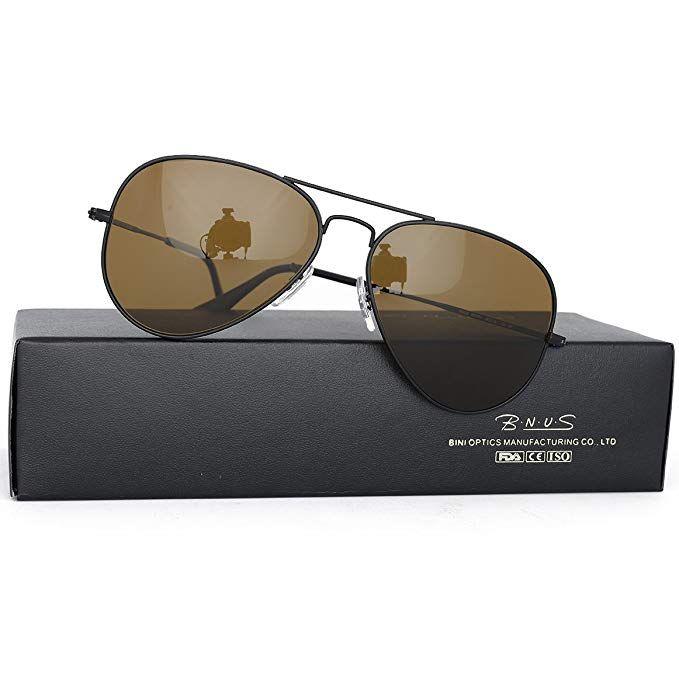a11f40730d Bnus italy made corning natural glass lenses Polarized sunglasses for men  women (Frame  Matte Black Lens  Brown B15