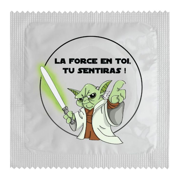 """Véritable préservatif avec une pochette humoristique! Un cadeau efficace, drôle et pas chère! Préservatif modèle """"LA FORCE EN TOI"""""""