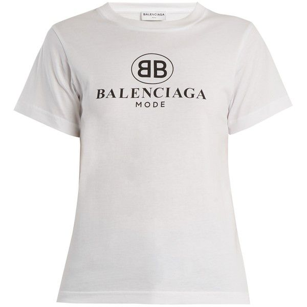 27f86465b423 Balenciaga Logo-print cotton T-shirt (19,690 PHP) ❤ liked on Polyvore  featuring tops, t-shirts, white, cotton tees, balenciaga t shirt, slim fit t  shirts, ...