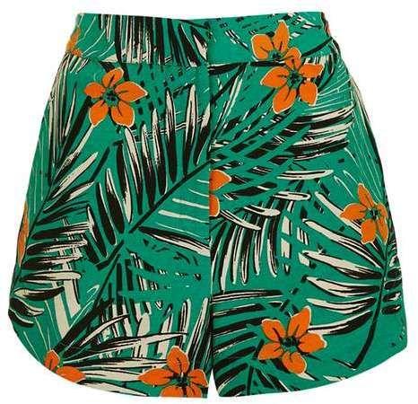 Petite miami palm print shorts