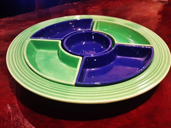 Vintage FiestaWare Relish Tray With Inserts 6 by vintagesouthwest