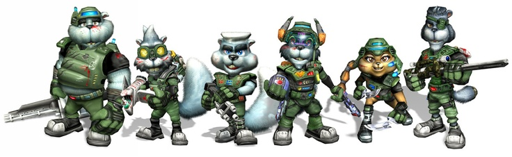Conker Live and Reloaded Character Wallpaper line-up futuristic