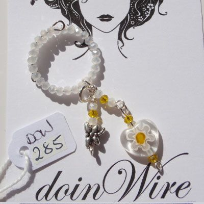 doinWire Wine Charm White crystals, white and yellow crystals and white glass heart with dragonfly charm. DOW285