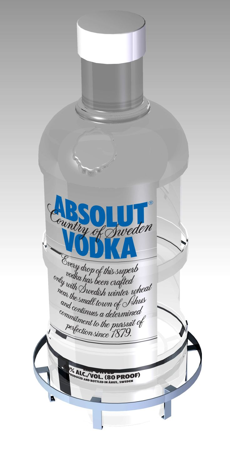 A larger than life vodka bottle. Molded in clear plastics, printed with original artwork, cut and rigged with shelves for displaying real products.