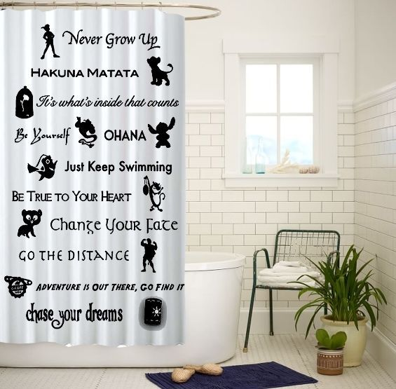 Disney Lessons Learned Mash Up Custom Shower Curtain Size 60x72 and 66x72 #Unbranded