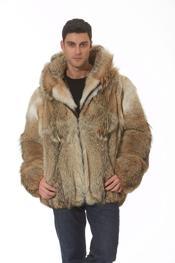 Real Natural Coyote Fur Jacket Mens Hooded Parka | eBay