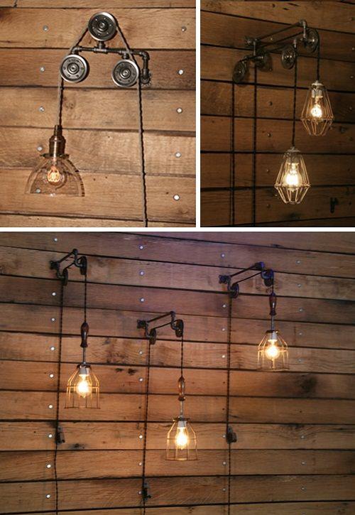 Lámparas de polea • Pulley lamps (images: IndustrialRewind, in etsy)