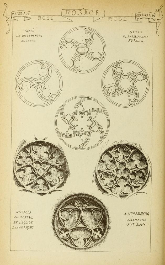 Materials and documents of architecture: traceries of Gothic rose motifs from churches in France