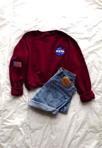 Tops Woman : NASA Oxblood Sweatshirt Long