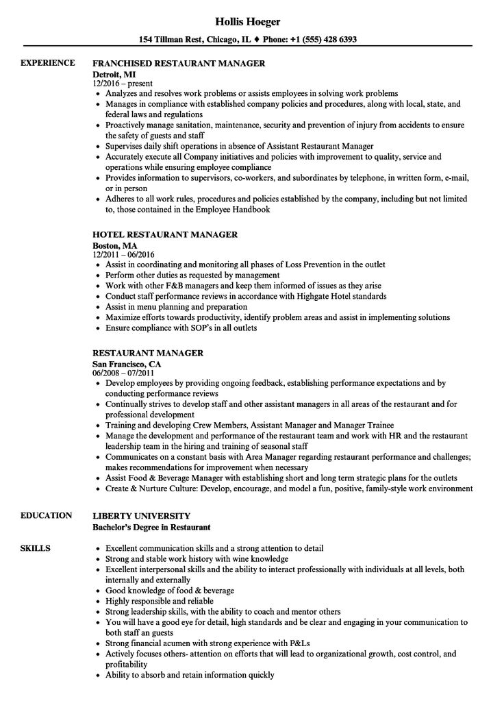 Restaurant Manager Resume in 2020 Job resume examples