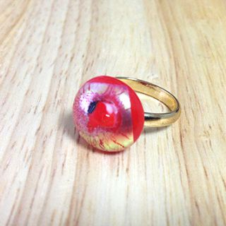"""Handcut fused glass ring  Glass size: 14mmX15mm  Ring type: adjustable ring Ring color: gold   Designed by """"bittnada"""""""