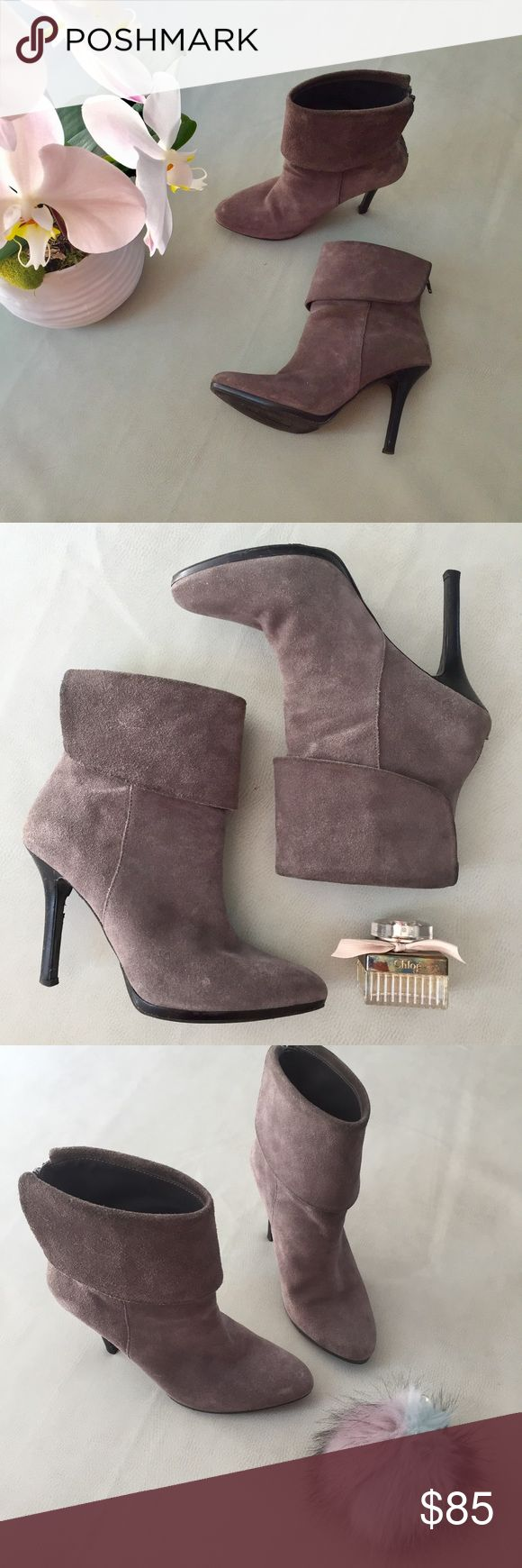 """Lauren Ralph Lauren Grey Suede Booties Style Leola, absolutely gorgeous grey (neutral) cuff booties. Back zipper, light scuffing (see pics) and a deeper nick in one heel. Can also be worn uncuffed. 4"""" heel. Lauren Ralph Lauren Shoes Heeled Boots"""