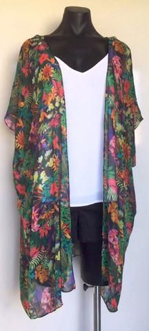 Black Tropical Kimono