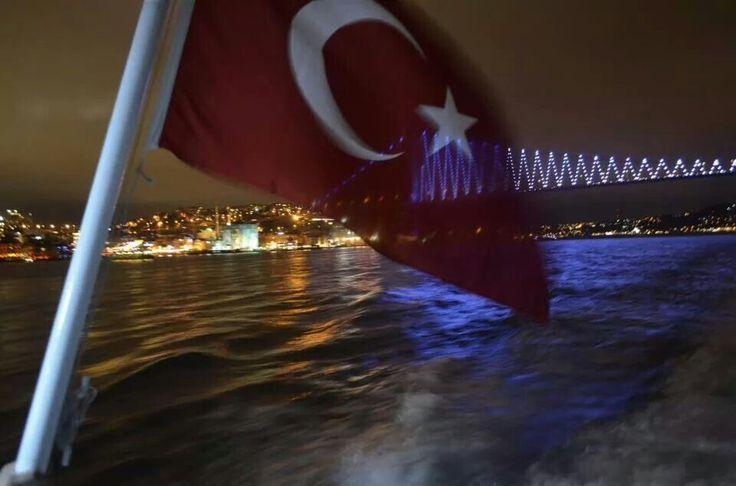 The flag, bosphorus, istanbul