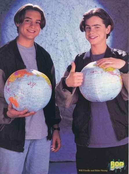 "Will Friedle and Rider Strong's ""boy meets globe"" photo shoot. 