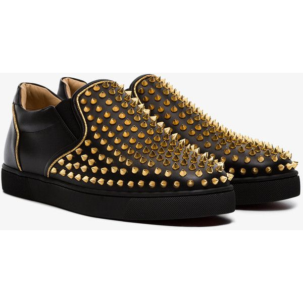 Christian Louboutin Black Sailor Boat Spike Leather Loafers ($1,210) ❤ liked on Polyvore featuring men's fashion, men's shoes, men's loafers, black, mens leather loafer shoes, mens black leather shoes, christian louboutin mens shoes, mens leather shoes and mens black shoes