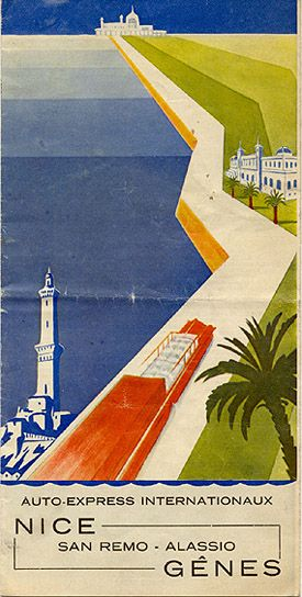 """Auto-Express Internationaux Nice - San Remo - Alassio - Gênes,"" 1938 vintage poster about the ancient riviera road Via Aurelia, that  for many centuries it's the only road connecting the towns of the Ligurian Riviera with Genoa."